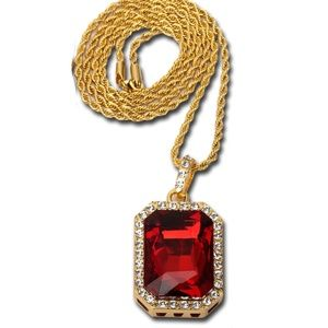 Other - Iced Out Hip Hop Ruby Red Gem Jewelry